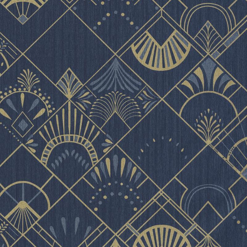 Papier Peint Bleu Et Or.Papier Peint Golden Years Bleu Nuit Et Or Scarlett Caselio