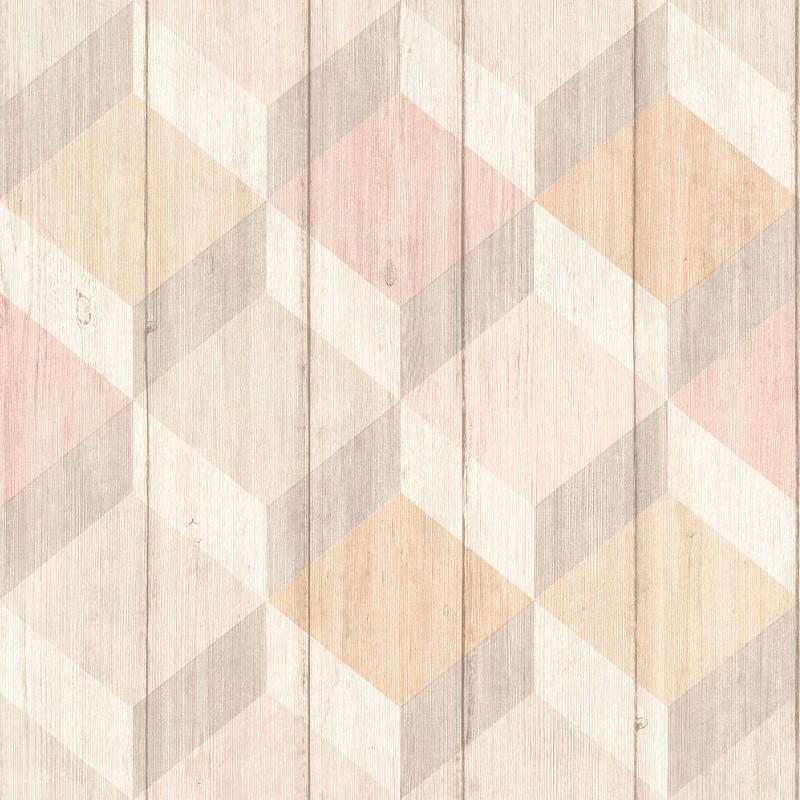 Papier peint Cubes bois rose et beige - INSPIRATION WALL - Grandeco - IW2001