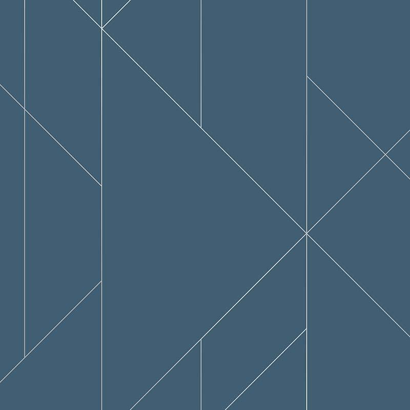 Papier peint Torpa bleu et argent - TERENCE CONRAN - Lutèce - TC25200