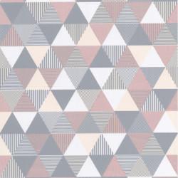 Papier peint intissé Triangles pastel rose et gris - Lutèce