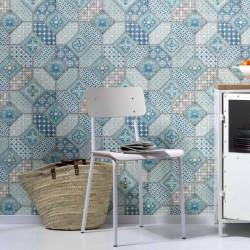 Papier peint carreaux de ciment portugais bleus - Imitations - ERISMANN