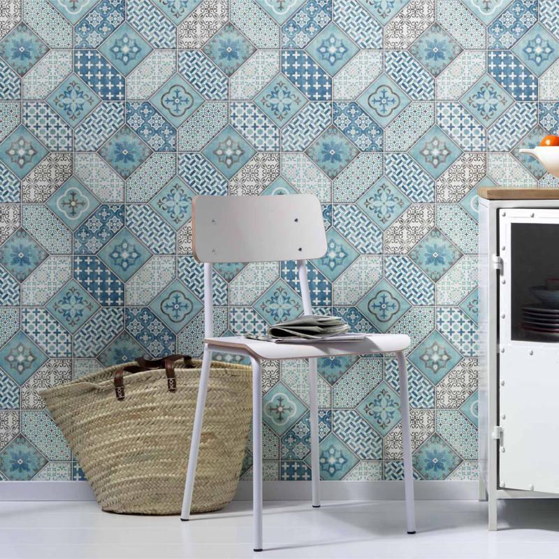 papier peint carreaux de ciment portugais bleus. Black Bedroom Furniture Sets. Home Design Ideas
