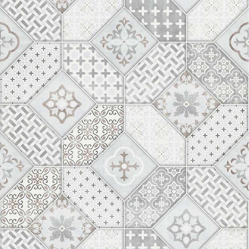 Papier peint Carreaux de Ciment Portugais gris - IMITATIONS - Erismann - 6315-10