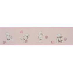 Frise papier peint enfant Oursons et Cubes rose - DOUCE NUIT - Casadeco