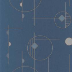 Papier peint intissé STUDIO bleu encre- Collection VISION - Casadeco