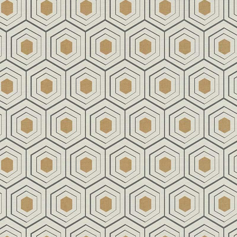 Papier peint Alvéole or, beige et noir - FOUR SEASONS - Lutèce - 358991