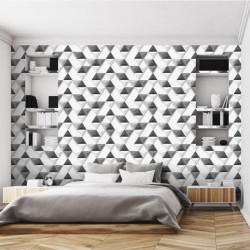 Papier peint Triangles Relief gris - HEXAGONE - Ugepa - L57509