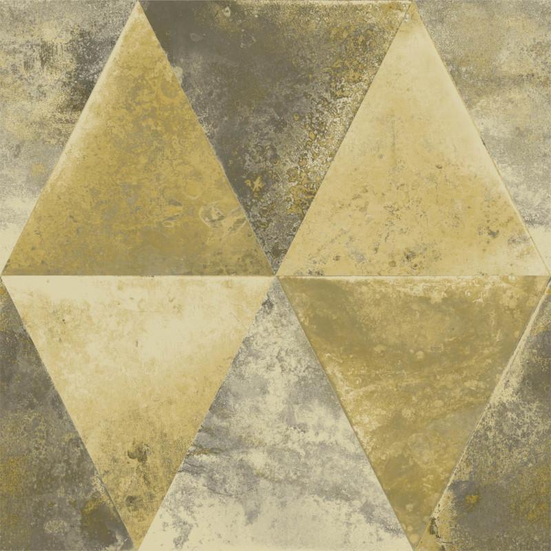 Papier peint Triangles Métallisés or et cuivre - HEXAGONE - Ugepa - L62502