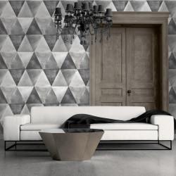 Papier peint Triangles Métallisés argent et cuivre - HEXAGONE - Ugepa - L62509