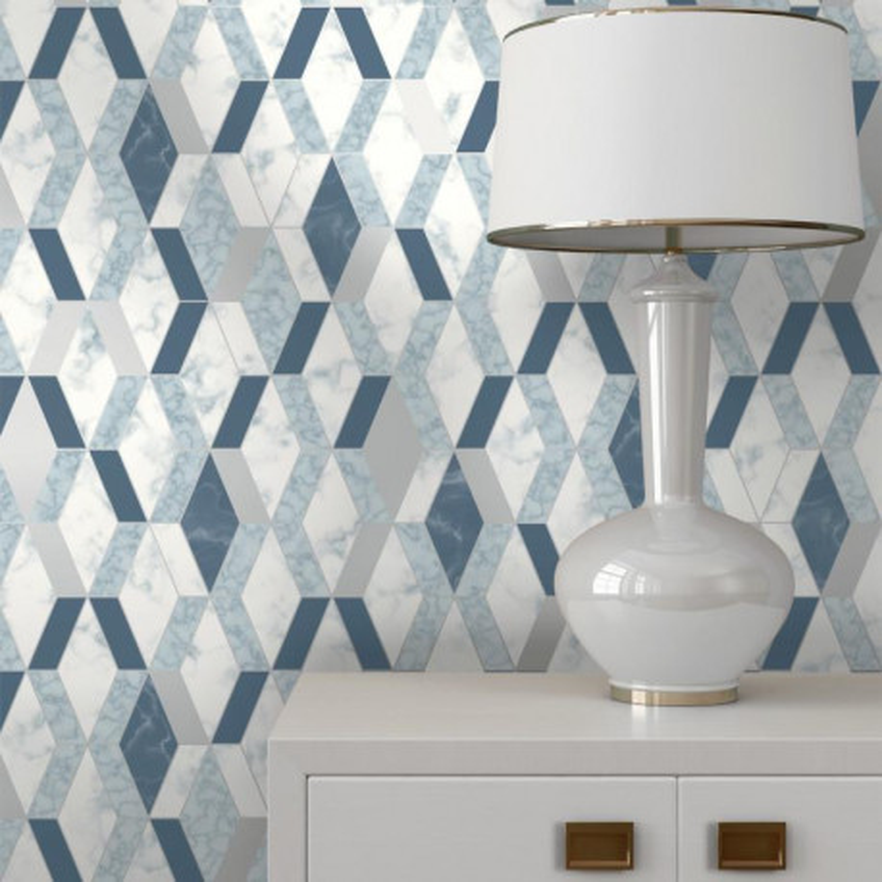 Papier peint Hexagonal marbre et bleu - HEXAGONE - Ugepa - L63801