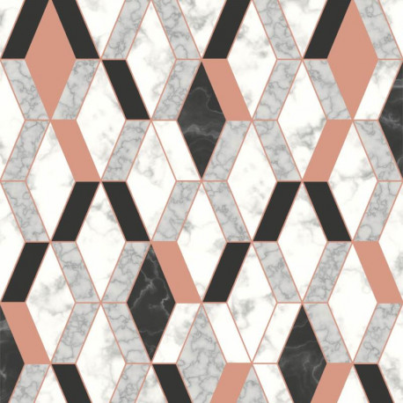 Papier peint Hexagonal marbre et rose - HEXAGONE - Ugepa - L63805