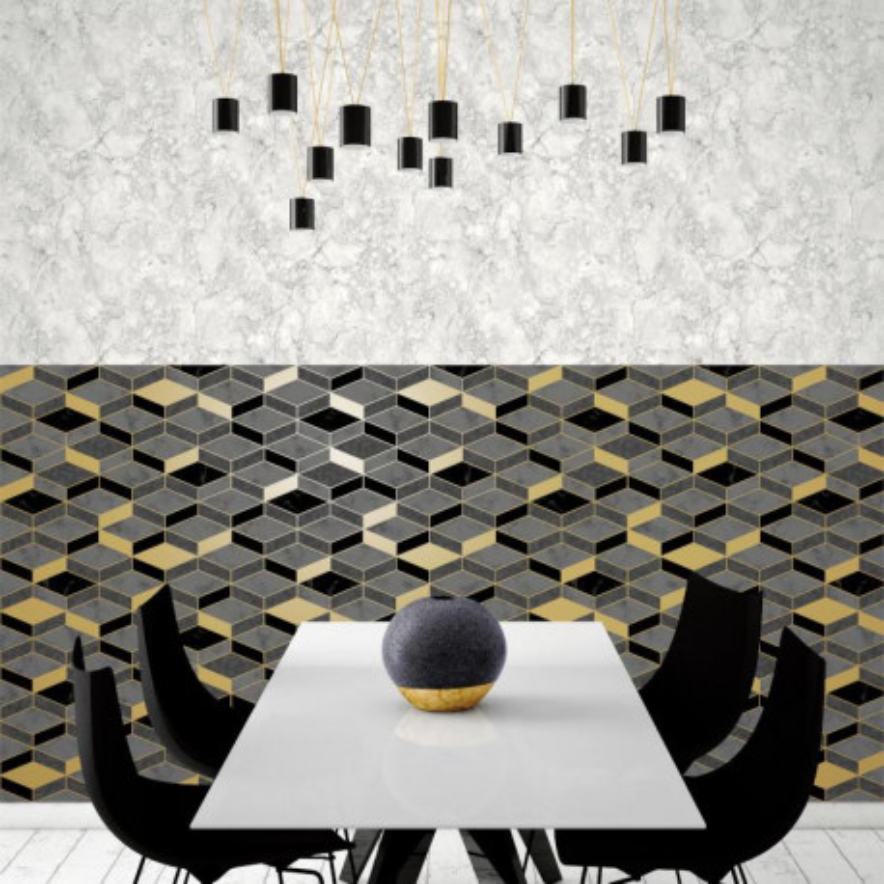 Papier peint Hexagonal marbre et gris - HEXAGONE - Ugepa - L63809