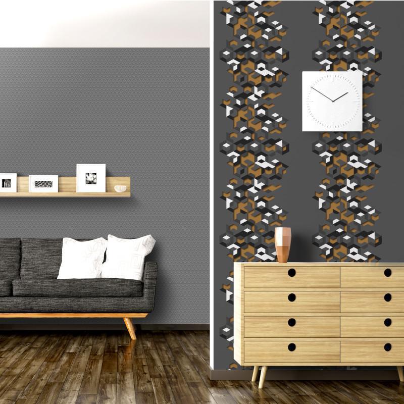 Papier peint Géométrique gris et or - HEXAGONE - Ugepa - L57702