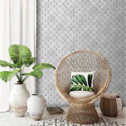 Papier peint Géométrique Ecaille blanche - HEXAGONE - Ugepa - L59100