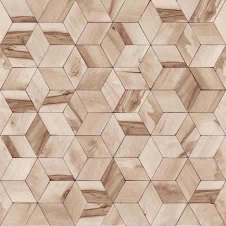 Papier peint Géométrique Bois marron - HEXAGONE - Ugepa - L59208