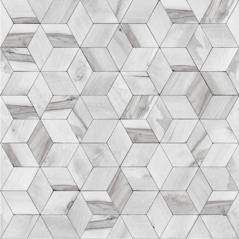 Papier peint Géométrique Bois gris - HEXAGONE - Ugepa - L59209