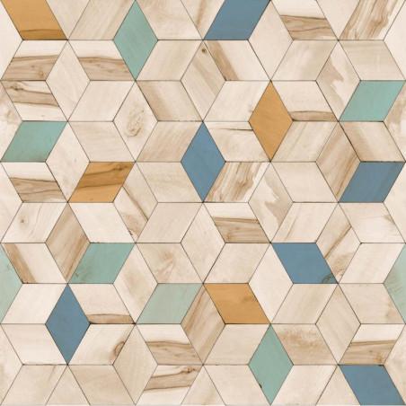 Papier peint Géométrique Bois bleu - HEXAGONE - Ugepa - L59301
