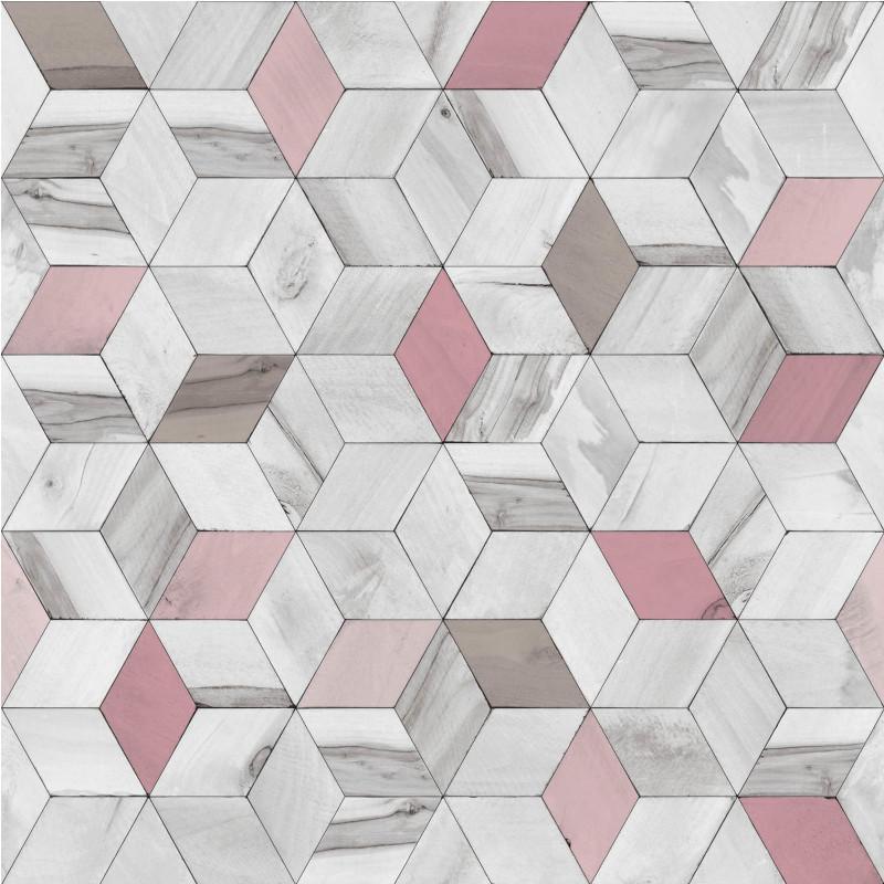 Papier peint Géométrique Bois rose - HEXAGONE - Ugepa - L59303