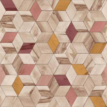 Papier peint Géométrique Bois rouge - HEXAGONE - Ugepa - L59310