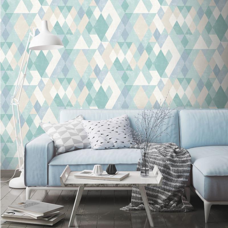 Papier peint vinyle Losanges bleus - HEXAGONE - UGEPA