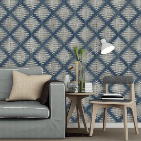 Papier peint Géométrique Métallisé bleu - HEXAGONE - Ugepa - L60001