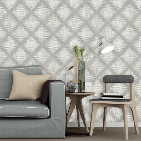Papier peint Géométrique Métallisé beige - HEXAGONE - Ugepa - L60007