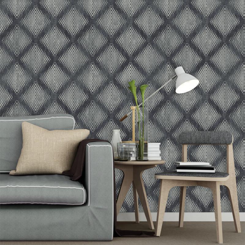Papier peint Géométrique Métallisé gris foncé - HEXAGONE - Ugepa - L60009