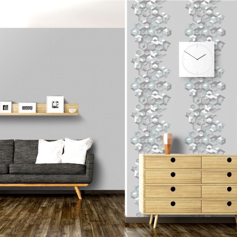 Papier peint Géométrique bleu et gris - HEXAGONE - Ugepa - L57711