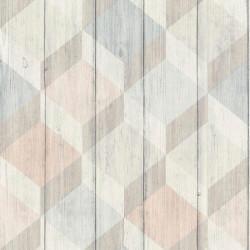 Papier peint Cubes bois rose et bleu pastel - INSPIRATION WALL - Grandeco - IW2004