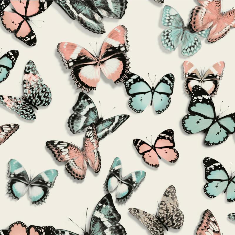 Papier peint Papillons bleu et rose - FAUX SEMBLANT - Ugepa - L137-03