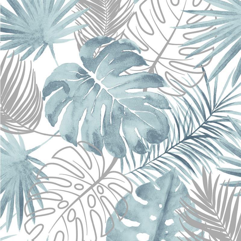 Papier peint Palmes Jungle bleu et argent - ESCAPADE - Ugepa - L60401