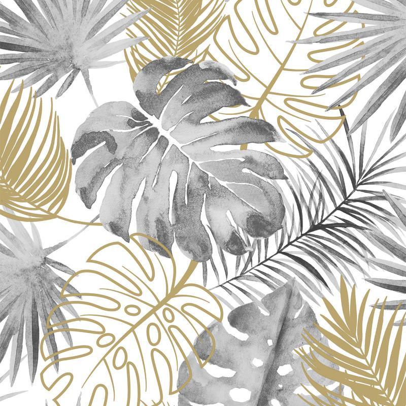 Papier peint Palmes Jungle gris et or - ESCAPADE - Ugepa - L60409