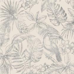 Papier peint Feuillage Tropical et Oiseaux - argent - ESCAPADE Ugepa