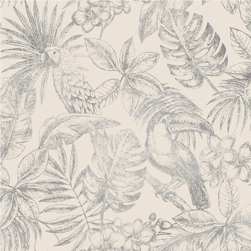 Papier peint Feuillage Tropical et Oiseaux lin et argent - ESCAPADE - Ugepa - L70709