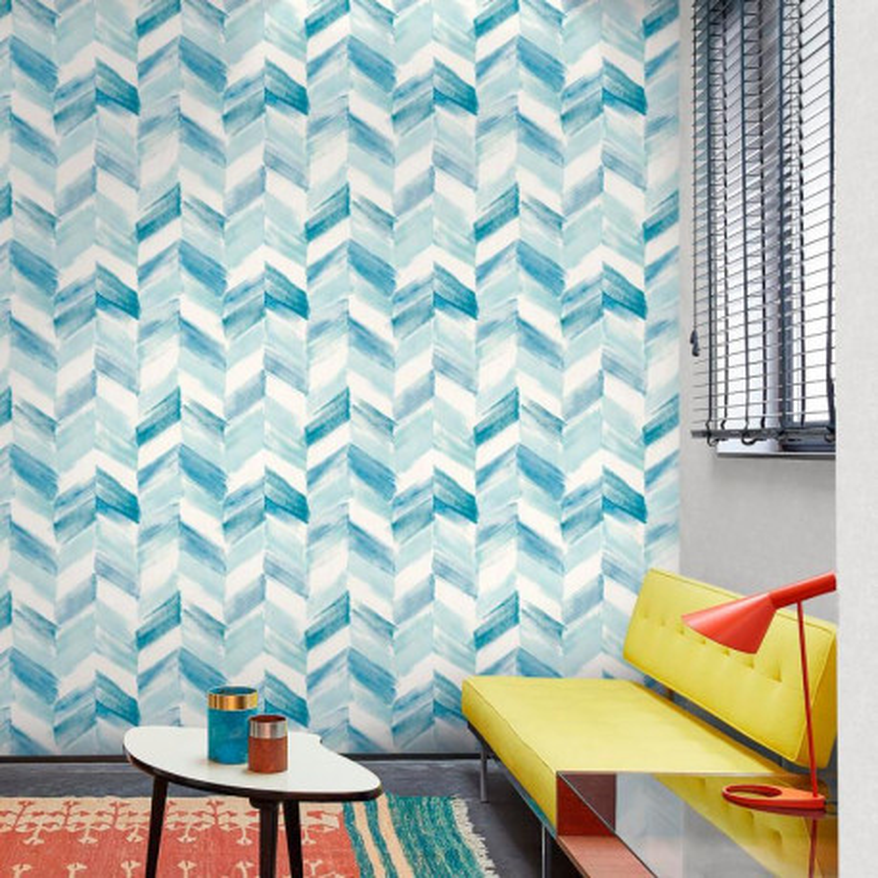 Papier peint Chevrons bleu - INSPIRATION WALL - Grandeco - IW2103