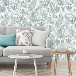 Papier peint Feuillage Tropical et Oiseaux - bleu et marron - ESCAPADE Ugepa