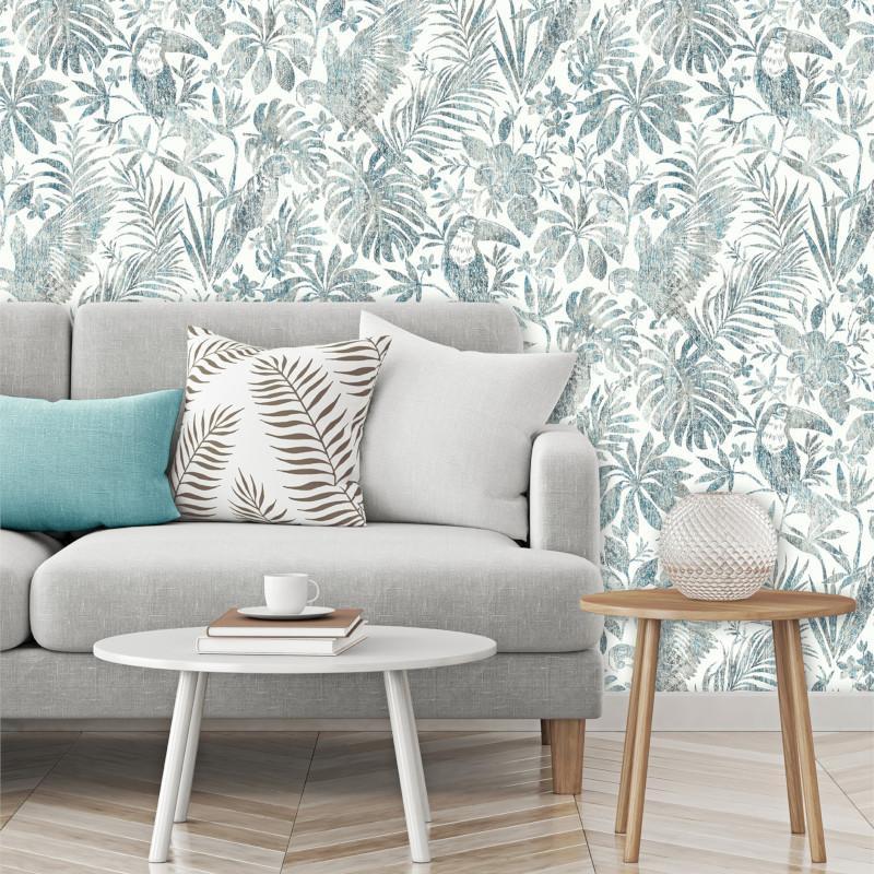 Papier peint Feuillage Tropical et Oiseaux bleu et marron - ESCAPADE - Ugepa - L68501