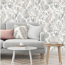 Papier peint Feuillage Tropical et Oiseaux - gris et beige - ESCAPADE Ugepa