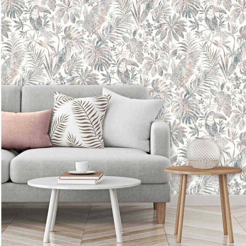 Papier peint Feuillage Tropical et Oiseaux gris et beige - ESCAPADE - Ugepa - L68508