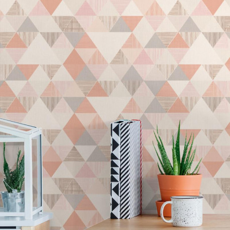 Papier peint Triangles rose corail - INSPIRATION WALL - Grandeco - IW3002