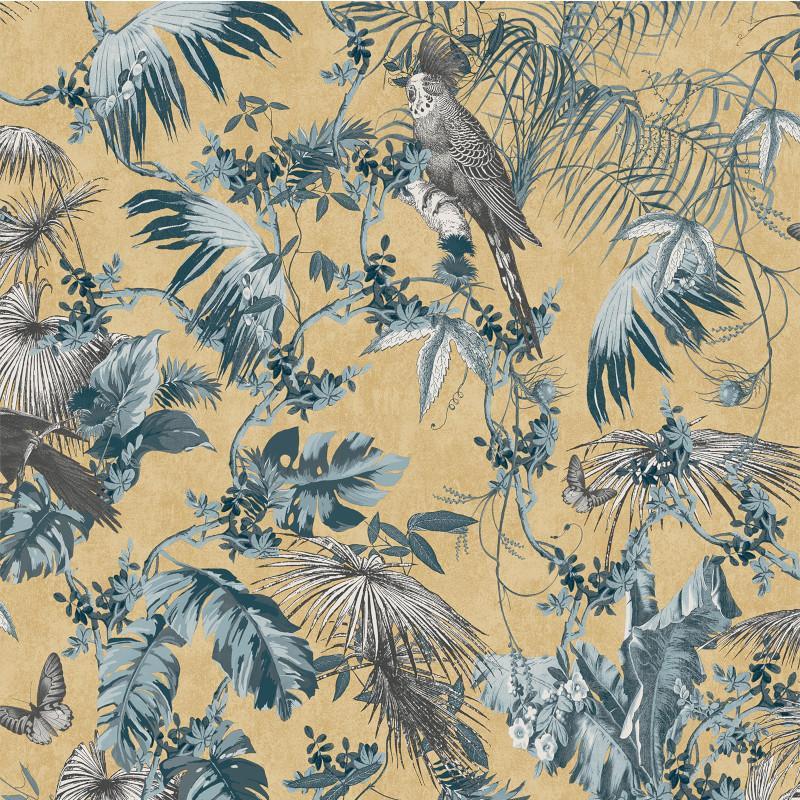 Papier peint Tropical bleu et or - ESCAPADE - Ugepa - L69801