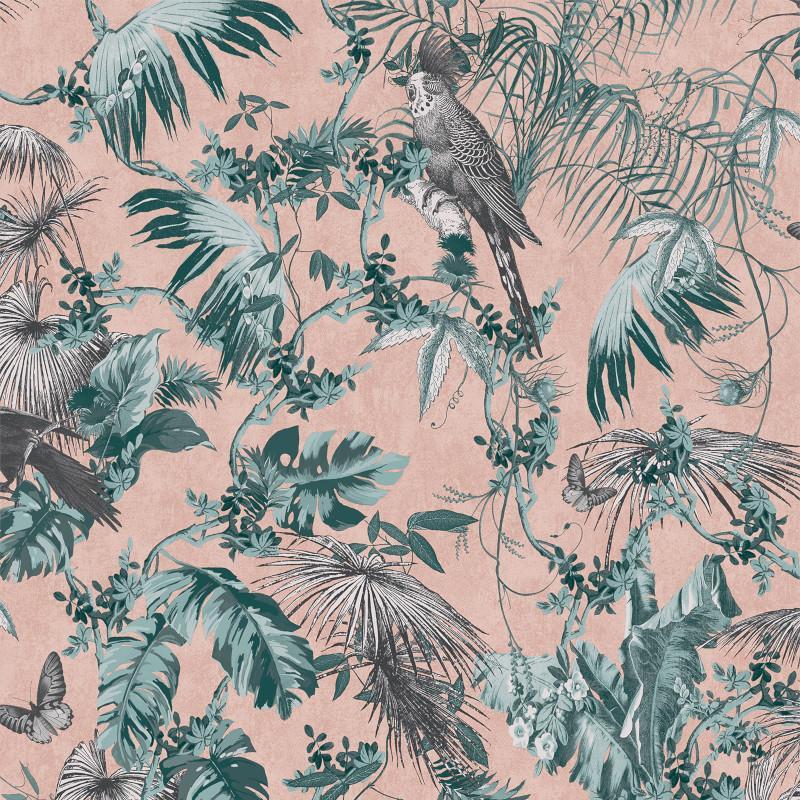 Papier peint Tropical vert et rose - ESCAPADE - Ugepa - L69804