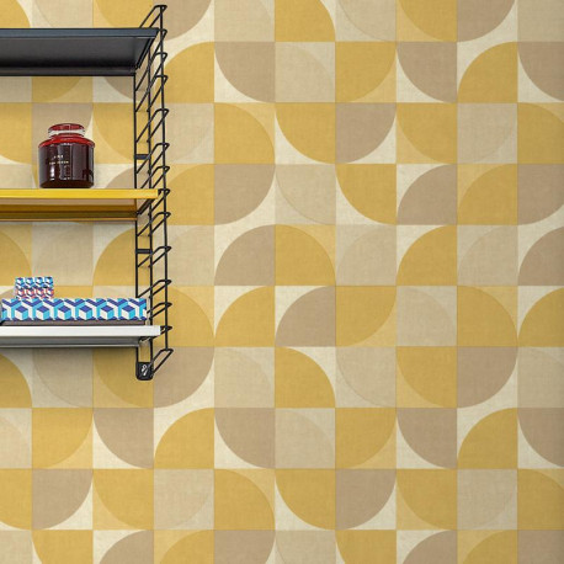 Papier peint Hélice jaune moutarde - INSPIRATION WALL - Grandeco - IW3403