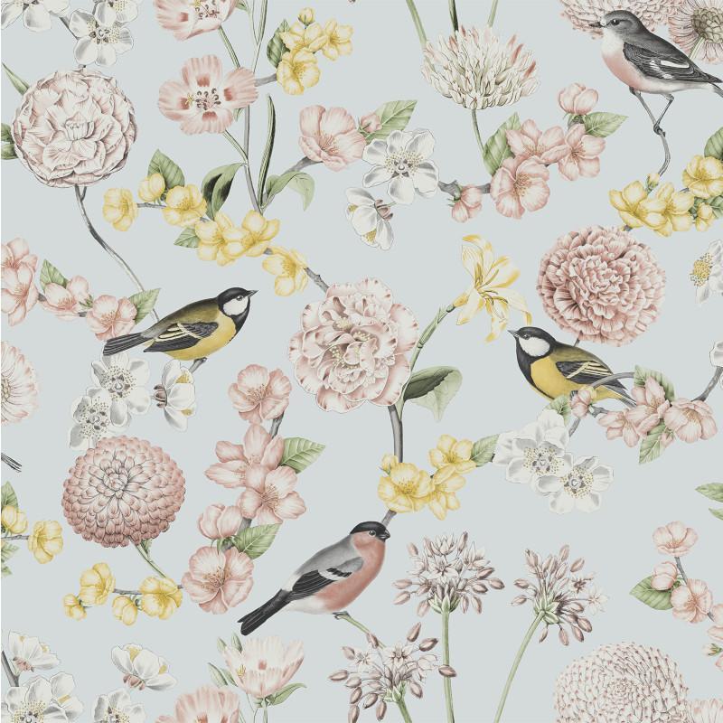 Papier peint Fleuri et Oiseaux bleu - ESCAPADE - Ugepa - L78801