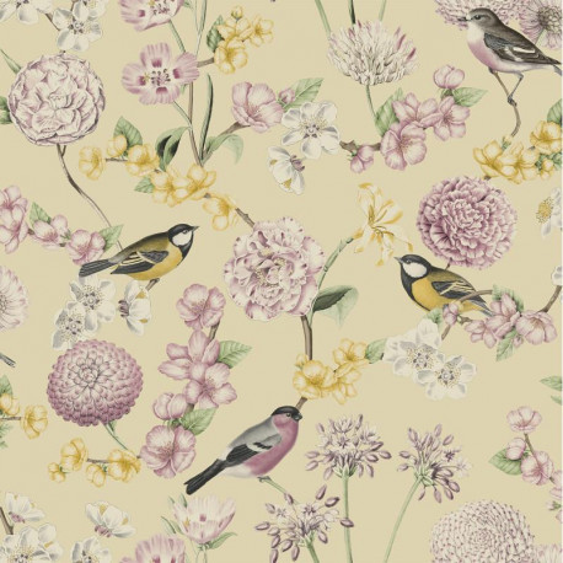 Papier peint Fleuri et Oiseaux rose et jaune - ESCAPADE - Ugepa - L78802