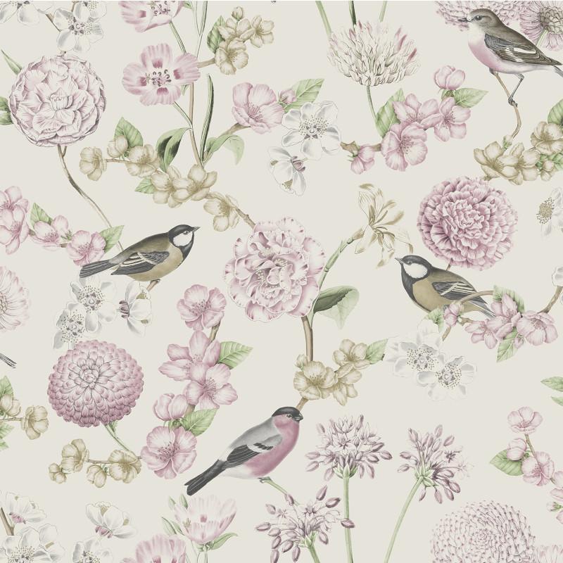 Papier peint Fleuri et Oiseaux rose - ESCAPADE - Ugepa - L78803
