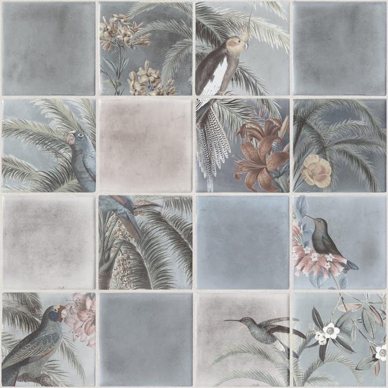 Papier peint Tropical effet carrelage gris - ESCAPADE - Ugepa - L79301