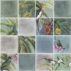 Papier peint expansé Tropical effet carrelage - Multicolore - Escapade Ugepa