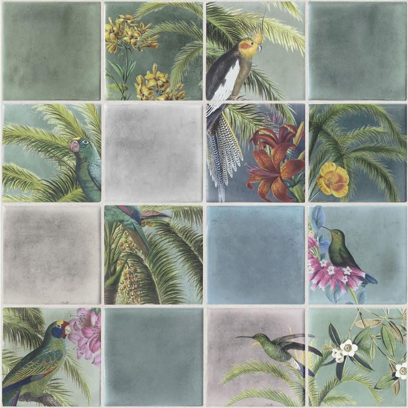 Papier peint Tropical effet carrelage multicolore - ESCAPADE - Ugepa - L79304