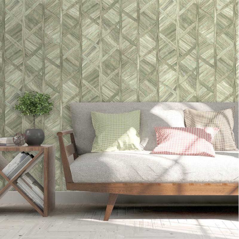 Papier peint Paille Tressée vert et beige - ESCAPADE - Ugepa - L61604